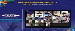 Cartel alegórico a la rueda de prensa por el seminario virtual de Odecabe