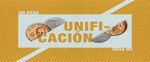 Cartel alegórico a la unificación monetaria y cambiaria en Cuba
