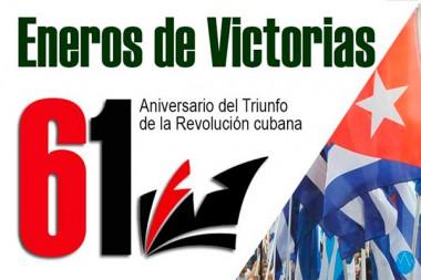 Cartel alegórico al 61 Aniversario del Triunfo de la Revolución cubana