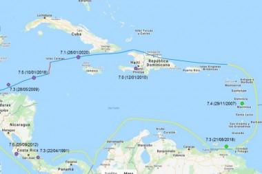 Según estudios del doctor en Ciencias Bladimir Moreno Toirán, en los últimos 50 años han ocurrido en el Caribe ocho sismos de magnitud mayor a 7, y de ellos siete han sido en los últimos 13 años en los puntos reflejados en el mapa, lo cual muestra la activación de la región en este último tiempo. Imagen tomada del CENAIS