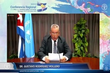 Ministro de la Agricultura de Cuba, Gustavo Rodríguez Rollero, interviene en Conferencia Regional de la FAO para América Latina y el Caribe.