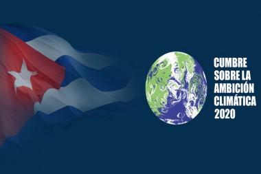 Cartel alegórico a la participación de Cuba en la Cumbre virtual de Ambición Climática