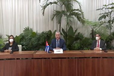 Miguel Mario Díaz-Canel Bermúdez, Presidente de la República de Cuba, en la Cumbre virtual de Ambición Climática