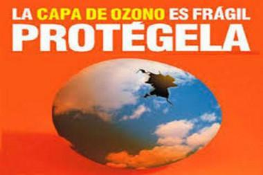 Cartel alegórico a la protección de la capa de ozono