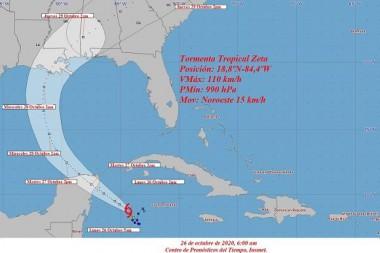 Cono de trayectoria de la tormenta tropical Zeta